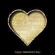 Abstract golden heart cutted from black paper background