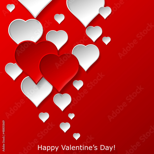 Abstract flying red and white hearts on red background. Valentin