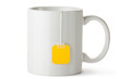 White ceramic mug with teabag label