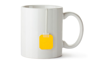 White ceramic mug with teabag label