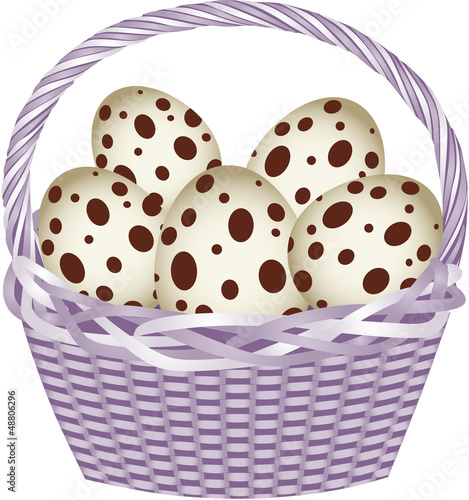 Basket with easter quail eggs