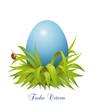 Ostergruss mit blaues Osterei
