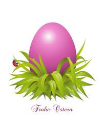 Ostergruss mit lila Osterei