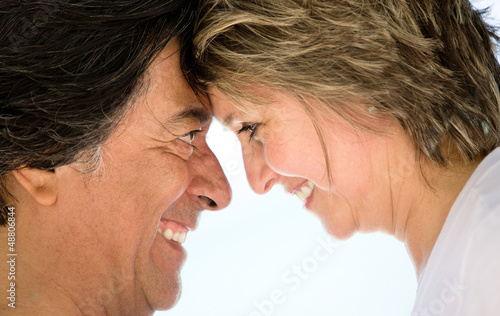 Loving couple smiling