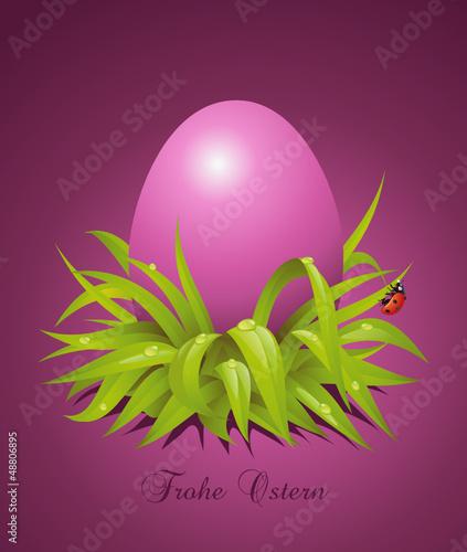 Ostergruß mit lila Osterei