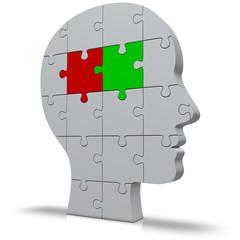 Kopf mit Puzzle Politik rot grün