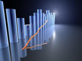 Statistik 3D Blaues Metall