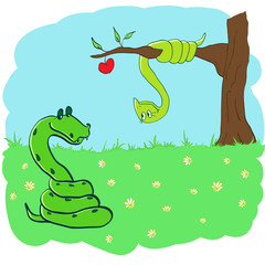 snake in love.funny illustration