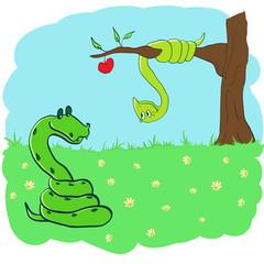 snake in love.funny illustration