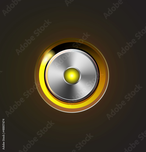 Glossy media player metal button