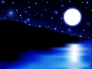 Moon over sea and island