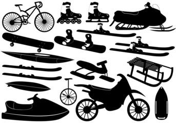 Illustration of different sporting stuff