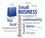 Small Business Word Cloud. Shopping bag. Local community stores.
