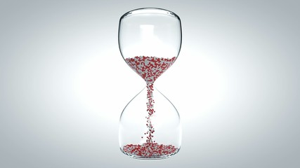 CG Hourglass animation with red and white balls inside.