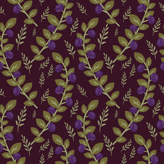 Bilberry branches seamless decorative pattern