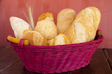 bread on red basket