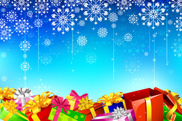 Gifts in Snowflake Background