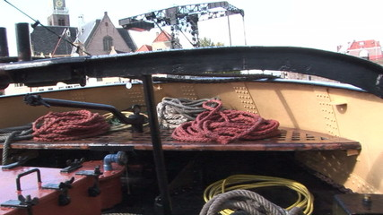 Tugboat with ropes on board