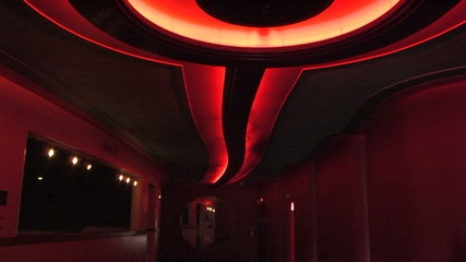 Theater's interior decorative neon red light