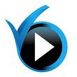 lecture sur bouton validé bleu