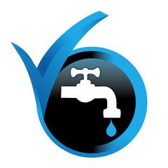 robinet sur bouton validé bleu