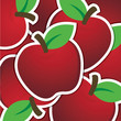 Red apple sticker background/card in vector format.