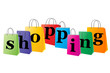 Set of shopping bags with the word sale on white background