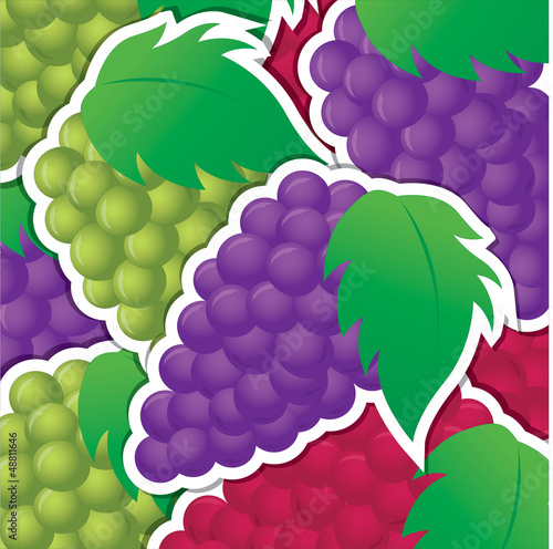 Red, purple and green grape sticker background/card in vector fo