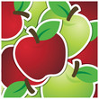 Red and green apple sticker background/card in vector format.