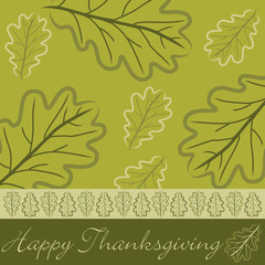 Hand drawn acorn leaf Thanksgiving card in vector format.