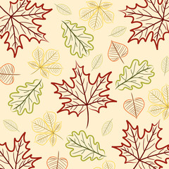 Hand drawn leaf Thanksgiving/Autumn card in vector format.