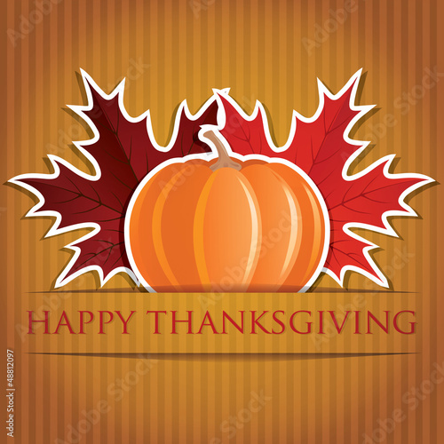 Pumpkin and maple leaf Thanksgiving card in vector format.