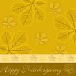 Hand drawn fall leaf Thanksgiving card in vector format.
