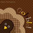 Hiding turkey plaid Thanksgiving card in vector format.
