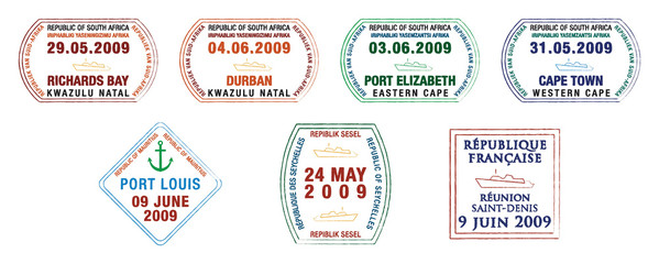 African and island passport stamps