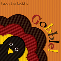 Hiding turkey corduroy Thanksgiving card in vector format.