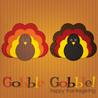 Corduroy turkey Thanksgiving card in vector format.
