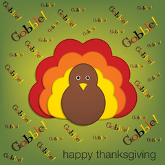 Yelling turkey Thanksgiving card in vector format.