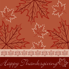 Hand drawn maple leaf Thanksgiving card in vector format.