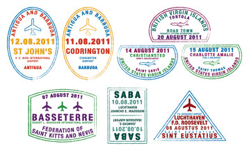 Passport stamps from the Windward Islands