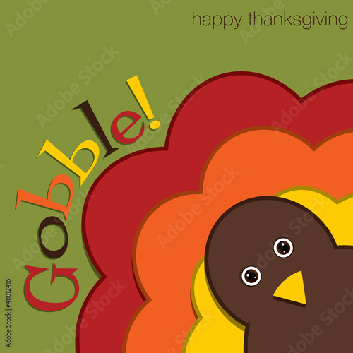 Hiding turkey felt Thanksgiving card in vector format.