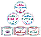 Passport stamps from Jamaica and Puerto Rico - 48812602