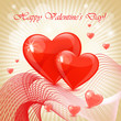 Valentine's day background with abstract hearts and rays