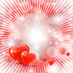 Beautiful valentine's day background with hearts and rays