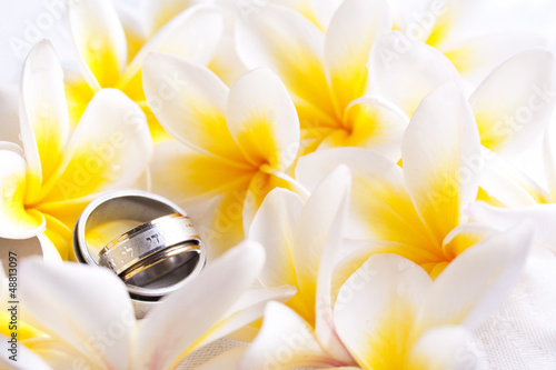 Two Hebrew wedding rings and flowers