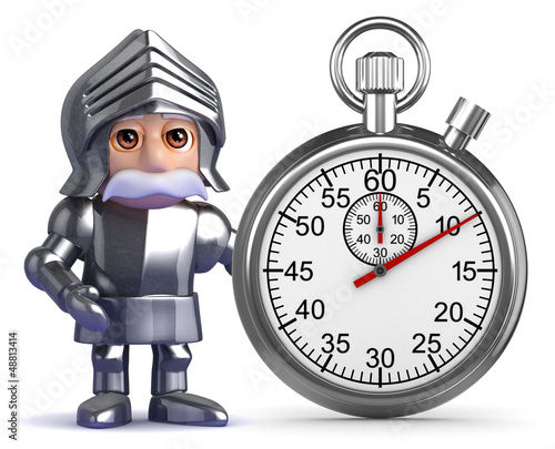 Knight stands by a stopwatch