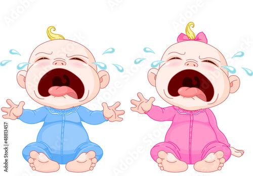Crying baby twins