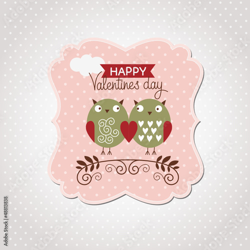 Valentine's Day card with cute owls