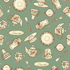 Vintage seamless pattern with china