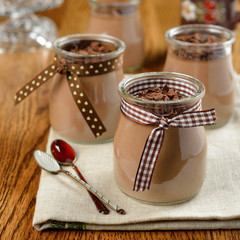 Chocolate dessert in a small glass jar